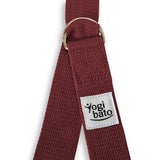 Closed Yogibato Yoga belt in Bordeaux with logo with 2 D-rings made of metal as buckle