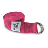 Rolled up Yogibato Yoga belt in Fuchsia with logo with 2 D-rings made of metal as buckle