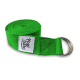 Rolled up Yogibato Yoga belt in Green with logo with 2 D-rings made of metal as buckle