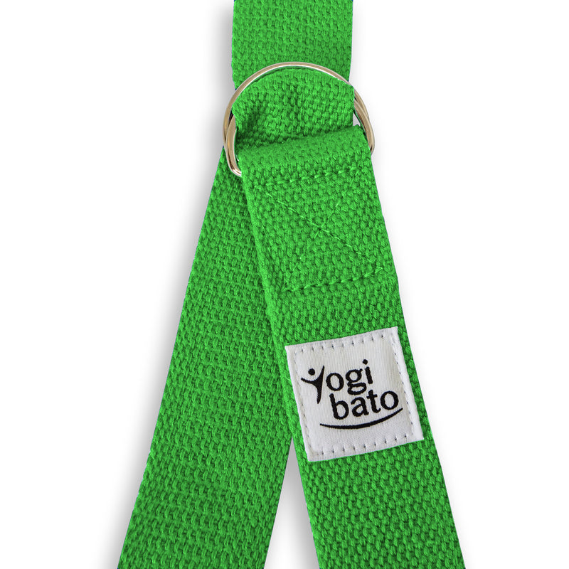 Closed Yogibato Yoga belt in Green with logo with 2 D-rings made of metal as buckle