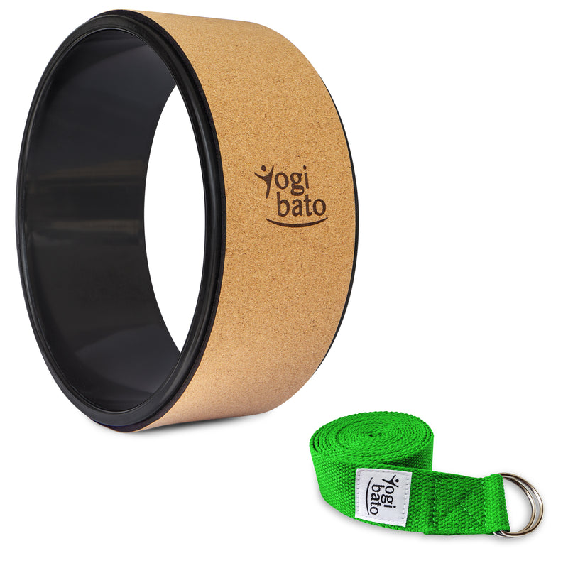 Rolled up Yogibato Yoga belt in Green with logo with 2 D-rings made of metal as buckle and a Yoga Wheel Cork