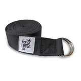 Rolled up Yogibato Yoga belt in Dark-Grey with logo with 2 D-rings made of metal as buckle