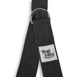 Closed Yogibato Yoga belt in Dark-Grey with logo with 2 D-rings made of metal as buckle