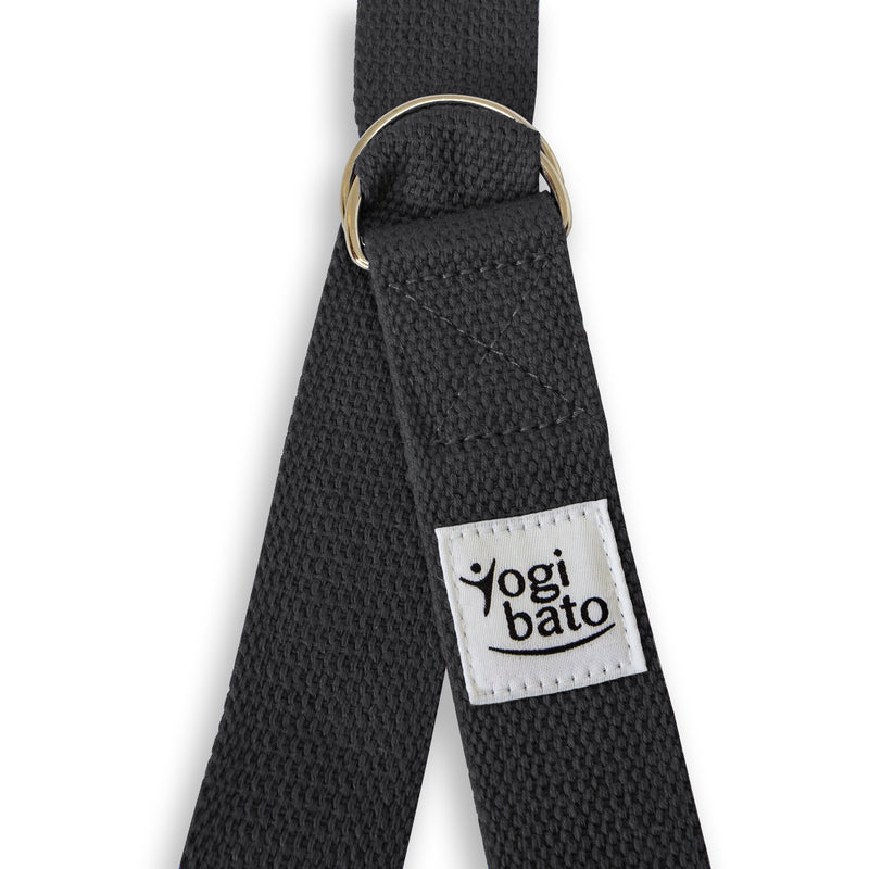 Yogibato Yoga belt in Dark-Grey with logo and 2 D-rings made of metal as buckle
