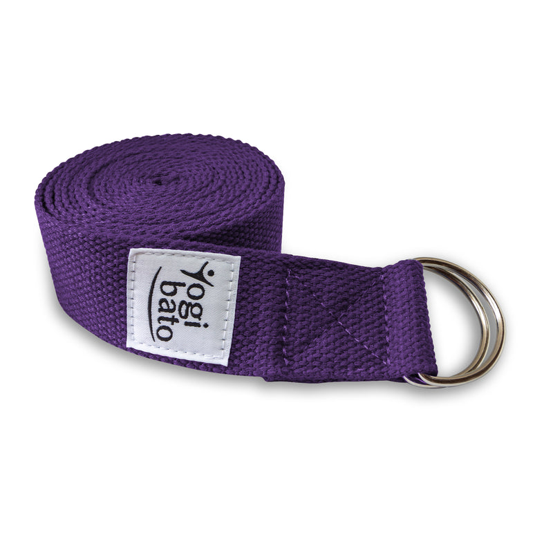 rolled up Yogibato Yoga belt in Lavender with logo with 2 D-rings made of metal as buckle