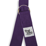 Yogibato Yoga belt in lavender with logo and 2 D-rings made of metal as buckle