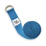 Rolled up Yogibato Yoga belt in Sky-Blue with logo with 2 D-rings made of metal as buckle