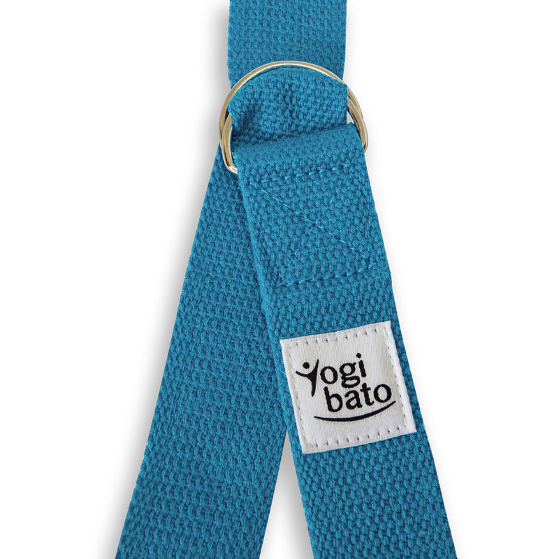 Closed Yogibato Yoga belt in Sky-Blue with logo with 2 D-rings made of metal as buckle