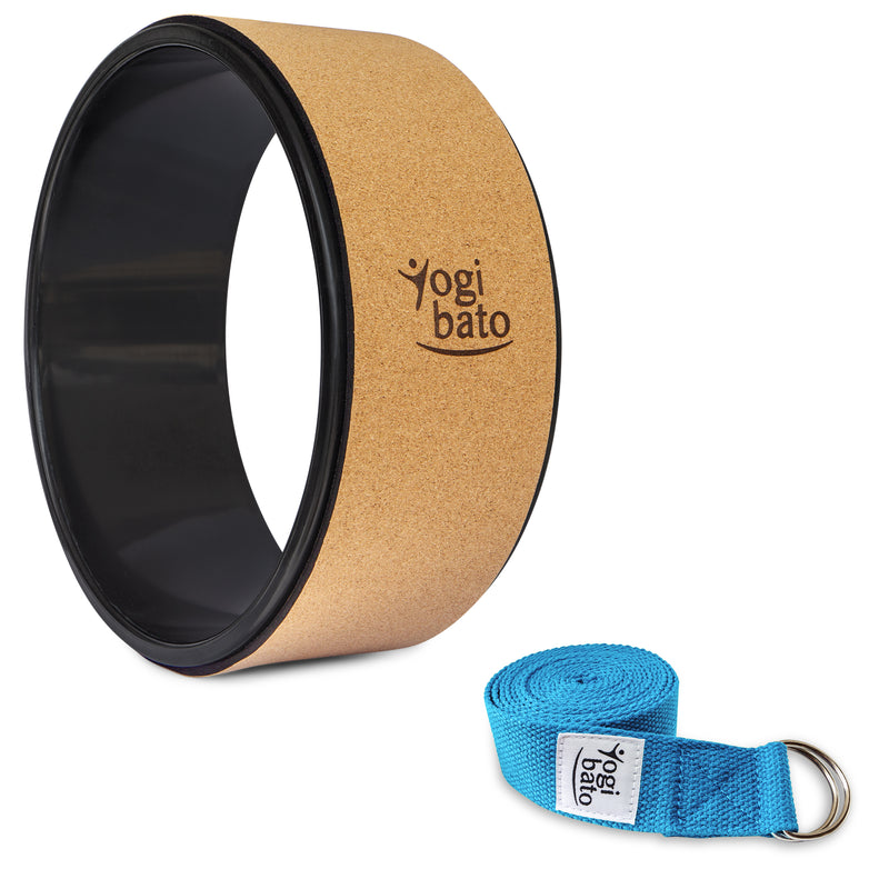 Rolled up Yogibato Yoga belt in Sky-Blue with logo with 2 D-rings made of metal as buckle and a Yoga Wheel Cork
