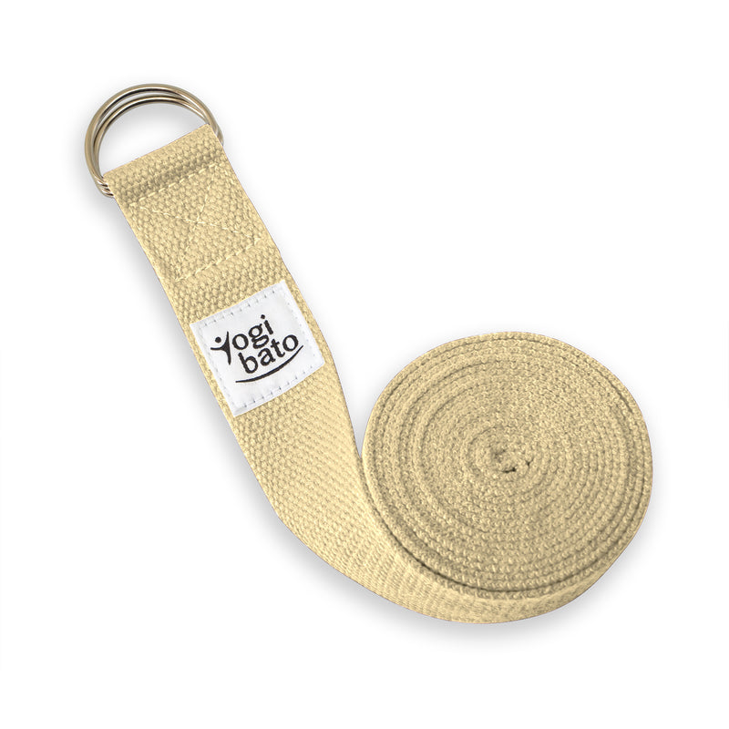Rolled up Yogibato Yoga belt in Natural with logo with 2 D-rings made of metal as buckle