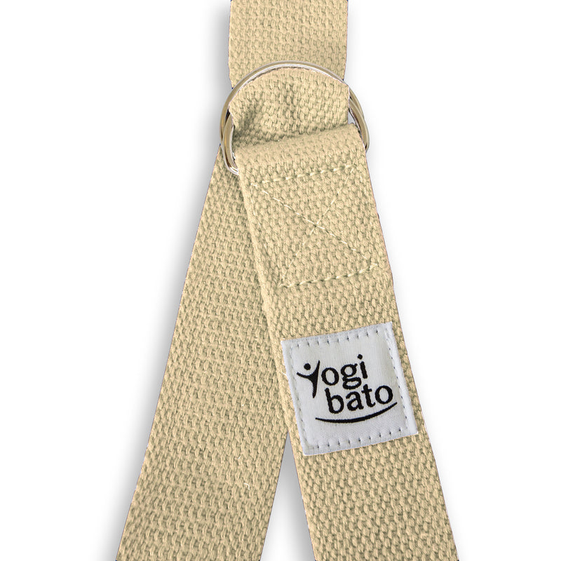 Closed Yogibato Yoga belt in Natural with logo with 2 D-rings made of metal as buckle