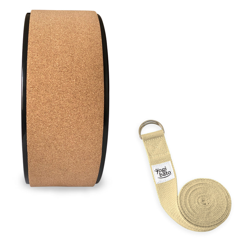 Rolled up Yogibato Yoga belt in Natural with logo with 2 D-rings made of metal as buckle and a Yoga Wheel Cork