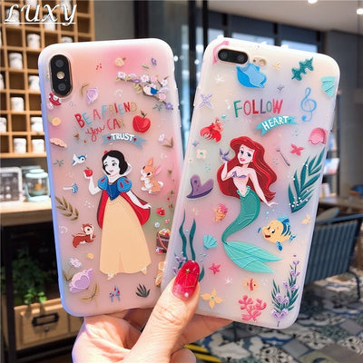 Disney Princesses 3D relief phone case for iPhone.