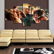 Attack On Titan: Eren Vs Colossal Titan Form Wall Art 5pcs - Adilsons