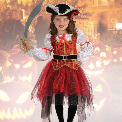 Caribbean Pirate kid's silk red costumes. - Adilsons