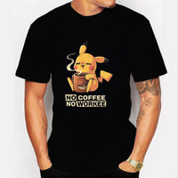 Detective Pikachu with coffee - high-quality T-shirt with 3D print. - Adilsons