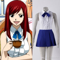Erza Scarlets costume is a white shirt and a blue skirt. - Adilsons