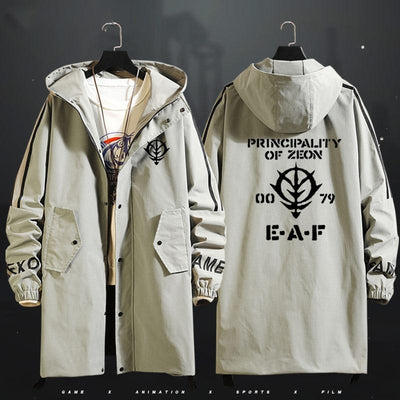 GUNDAM long windbreaker autumn/winter with a hood with a zipper. - Adilsons