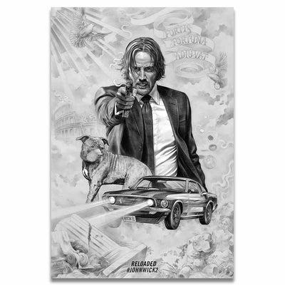 John Wick beautiful silk poster. - Adilsons