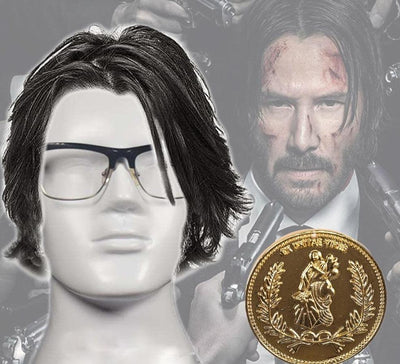 John Wick gold coin and wig cosplay. - Adilsons