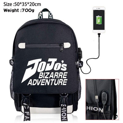 JoJo Adventure black zipper backpack. - Adilsons