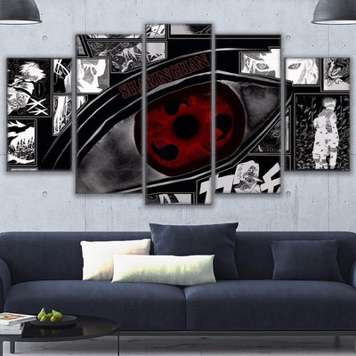 Naruto Sharingan Modular Wall Art Canvas 5pcs - Adilsons