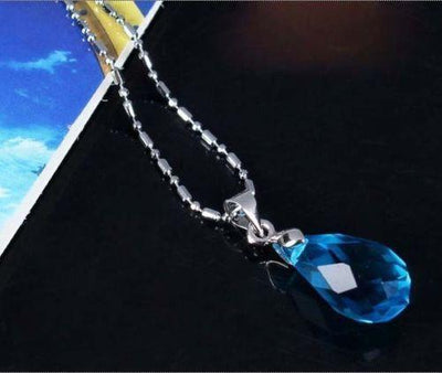 Sword Art Online blue crystal Kirito Asuna necklace. - Adilsons