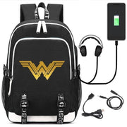 Wonder Woman USB port backpack. - Adilsons