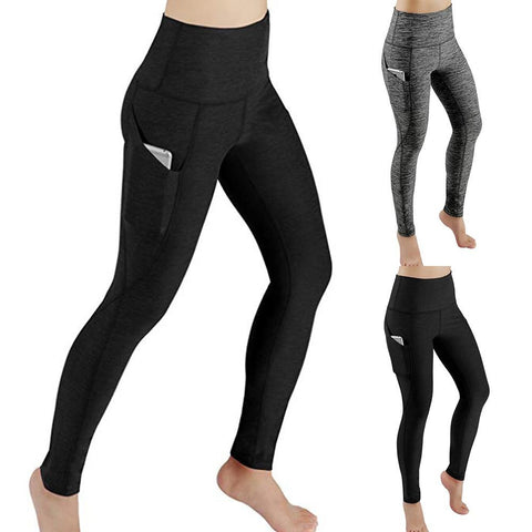 High Waist Out Full Length Pocket Yoga Pants Tummy Control Workout Running 4 Way Stretch Yoga Leggings