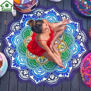 Beach Towel Sunblock Round Bikini Cover-Up Blanket Lotus Bohemian Yoga Mat Camping Mattress 150cm