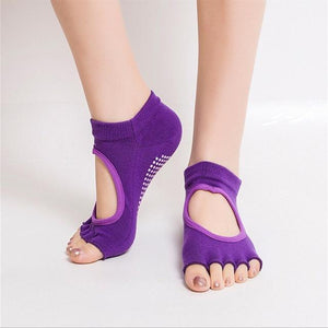 Yoga Socks for Women with Grip & Non Slip Toeless Half Toe Socks for yoga  Pilates Barre Dance