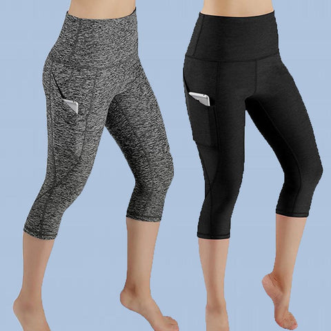 High Waist Out Pocket Yoga Pants Tummy Control Workout Running 4 Way Stretch Yoga Leggings
