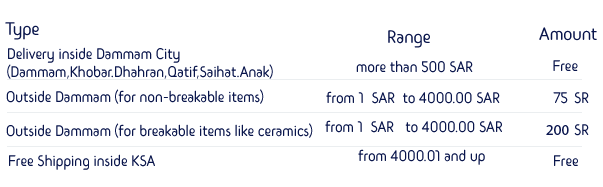 shipping rates safana online