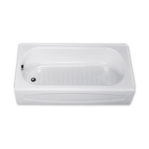 NEW SOLAR SOLAR 60 IN STEEL THREE WALL ALCOVE SOAKING BATHTUB WITH LEFT DRAIN