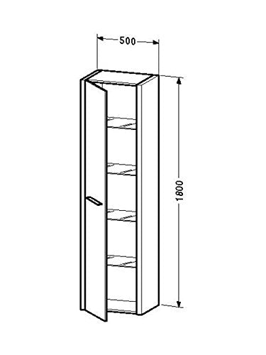 TALL CABINET W/ 1 DOOR & 4 GLASS SHELVES