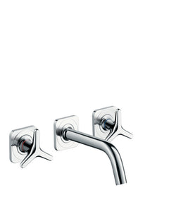 AXOR CITTERIO M- 3-HOLE BASIN MIXER FOR CONCEALED INSTALLATION WALL-MOUNTED WITH SPOUT 166 MM, STAR HANDLES AND ESCUTCHEONS
