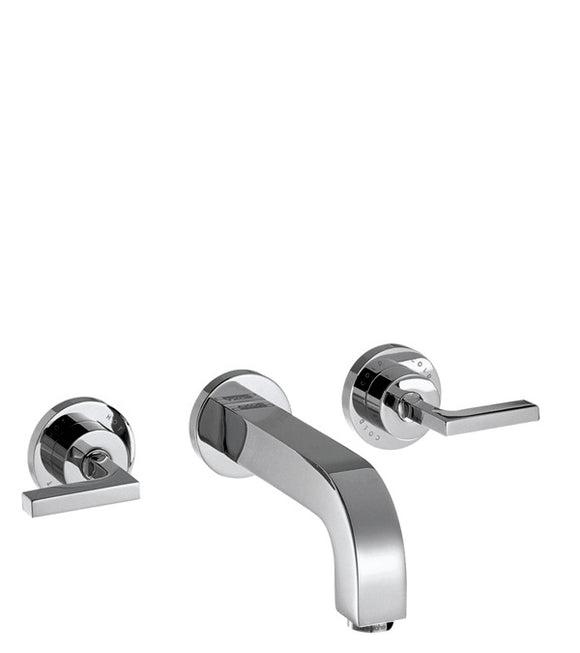 AXOR CITERIO 3-HOLE BASIN MIXER FOR CONCEALED INSTALLATION WALL-MOUNTED WITH SPOUT 162 MM, LEVER HANDLES AND ESCUTCHEONS
