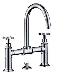 AXOR MONTREUX- 2-HANDLE BASIN MIXER 220 WITH CROSS HANDLES AND POP-UP WASTE SET