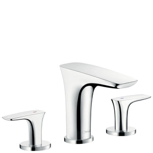 PURAVIDA 3-HOLE BASIN MIXER 100 WITH PUSH-OPEN WASTE SET