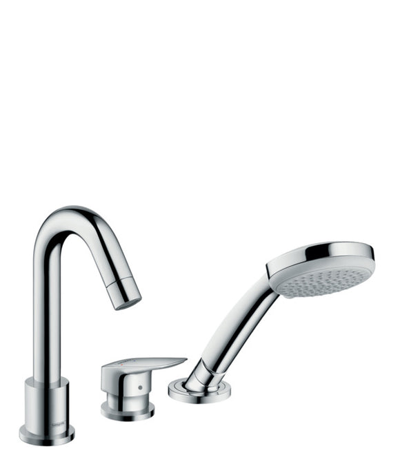 LOGIS 3-HOLE RIM MOUNTED SINGLE LEVER BATH MIXER WITH SECUFLEX