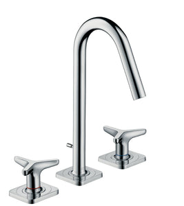 AXOR CITTERIO M 3-HOLE BASIN MIXER 160 WITH STAR HANDLES, ESCUTCHEONS AND POP-UP WASTE SET