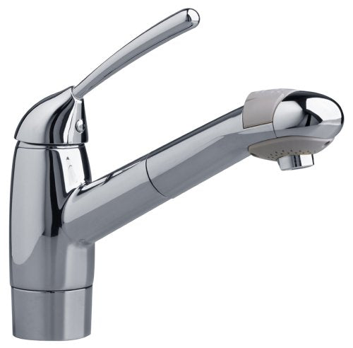CULINAIRE SINGLE-CONTROL KITCHEN FAUCET WITH PULL OUT SPRAY AND ESCUTCHEON PLATE, POLISHED CHROME