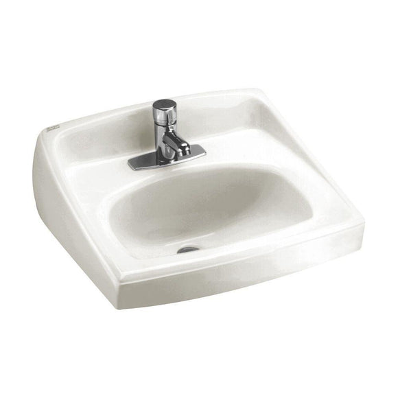 LUCERNE WALL-MOUNT LAVATORY SINK WITH CENTER FAUCET HOLE, WHITE