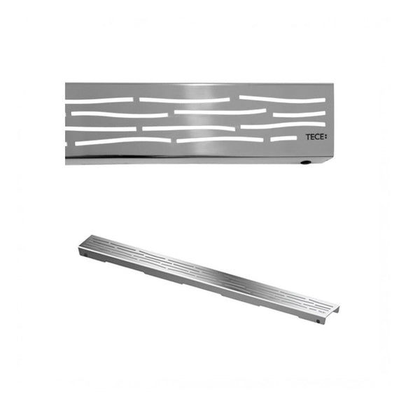 DRAINLINE DESIGN GRATE ORGANIC POLISHED OR BRUSHED STAINLESS STEEL FOR SHOWER CHANNEL, STRAIGHT L 90CM