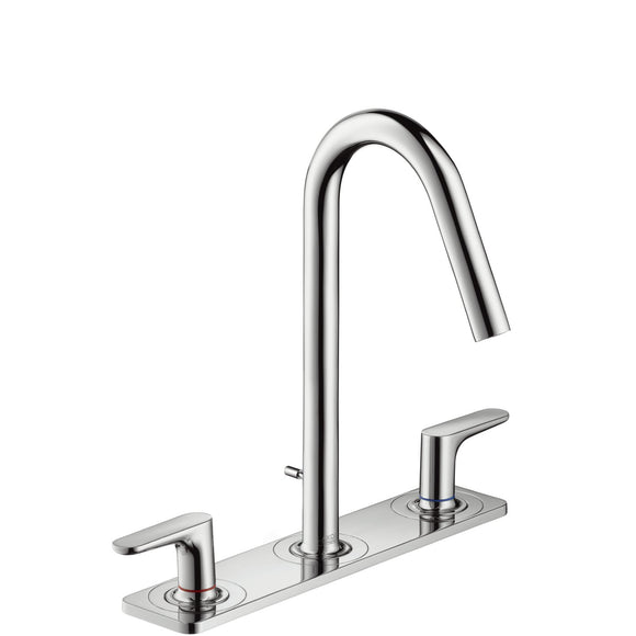 AXOR CITTERIO M  3-HOLE BASIN MIXER 160 WITH POP-UP WASTE SET, LEVER HANDLES AND PLATE