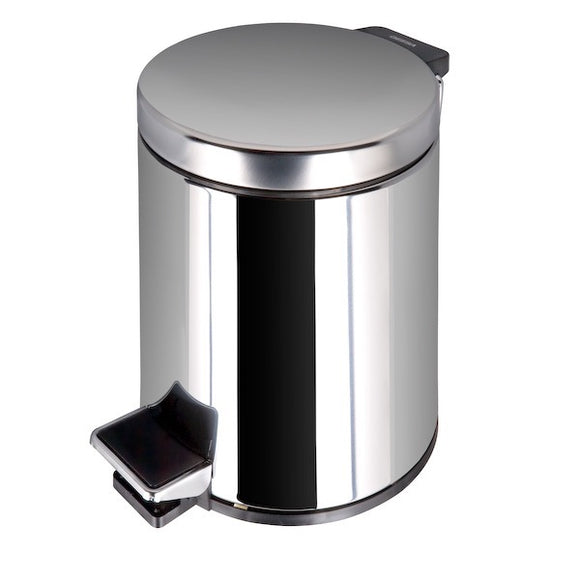 PEDAL BIN 5LITER FREE STANDING POLISHED S.STEEL