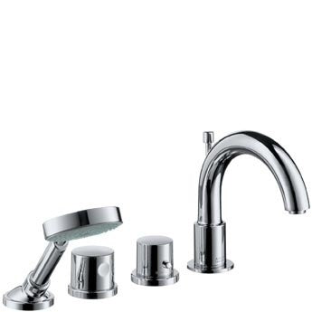 AXOR UNO2 - RIM MOUNTED THERMOSTATIC4 HOLE BATH MIXER WITH HAND