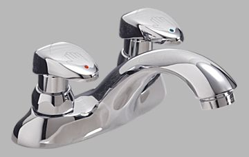 COMMERCIAL TWO HANDLE METERING SLOW-CLOSE BATHROOM FAUCET