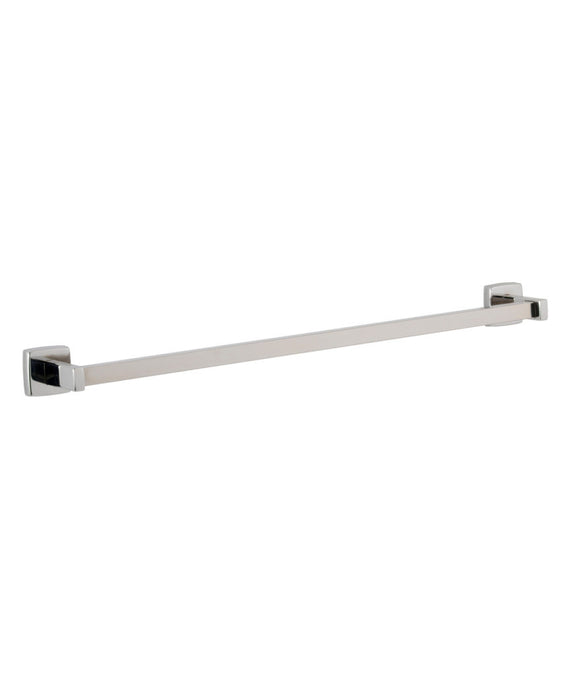 SURFACE-MOUNTED TOWEL BAR IS TYPE-304 STAINLESS STEEL WITH SATIN FINISH.