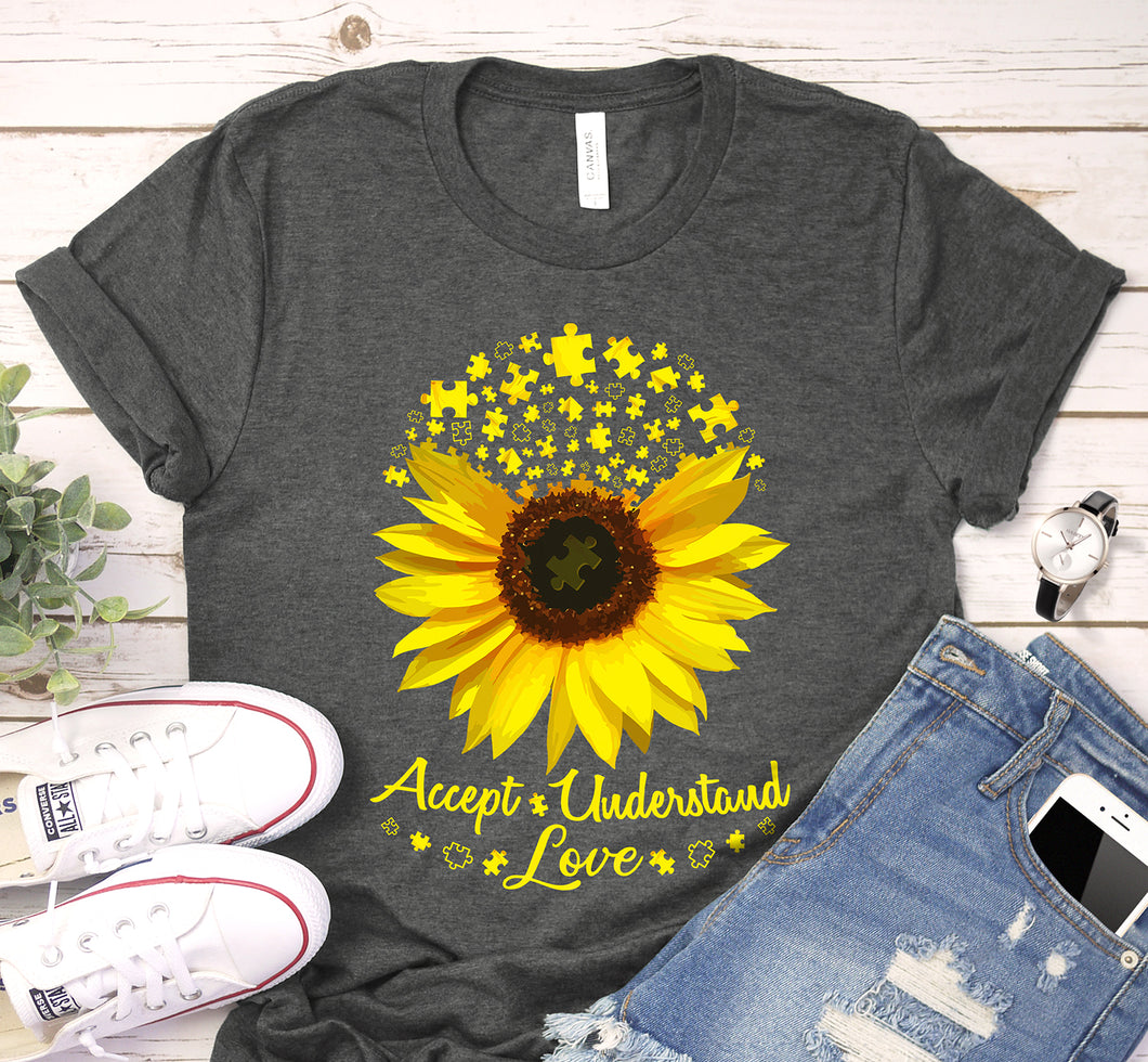 Accept Understand Love Sunflower Autism Awareness Shirt